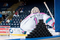 KELOWNA, CANADA - OCTOBER 14: Jackson Whistle #1 of Kelowna Rockets enters the ice against the Red Deer Rebels on October 14, 2015 at Prospera Place in Kelowna, British Columbia, Canada.  (Photo by Marissa Baecker/Shoot the Breeze)  *** Local Caption *** Jackson Whistle;
