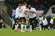 Derby County forward Darren Bent #39 celebrates scoring his first goal for Derby during the The FA Cup match between Derby County and Chesterfield at the iPro Stadium, Derby, England on 24 January 2015. Photo by Aaron Lupton.