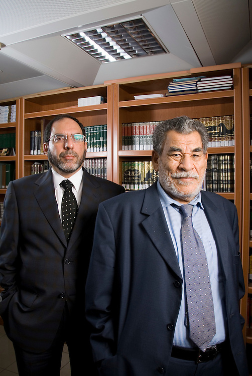 Dr. Hussain Hamed Hassan(right), Chairman - Shariah Board, Dubai Islamic Bank Group, poses for a portrait with Sohail Zubairi (left), Vice President and Head - Shariah Coordination Department, Dubai Islamic Bank Group on Monday, March 5, 2007 in Dubai, United Arab Emirates. Dr. Hassan chairs Shariah supervision boards of several Islamic financial institutions and is a leading academic in the field of Shariah and comparative law.