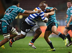 Cape Town-180921- Wastern Province Bongi Mbonambi tackled by Wendal  Wehr of Tafel lager Griquas in the Currie Cup Game played at Newlands Stadium .Photographs:Phando Jikelo/African News Agency/ANA