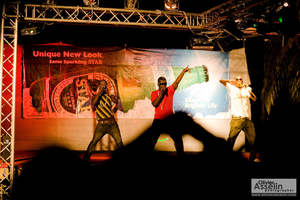 Young men sing on stage during a music performance on the occasion of the annual Oguaa Fetu Afahye Festival in Cape Coast, Ghana on Saturday September 6, 2008.