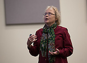 Christine Smith talks about good study skills during a lecture for learning communities in Schoonover Center on October 1, 2015. Smith was one of the guest speakers for learning community classes. Photo by Emily Matthews