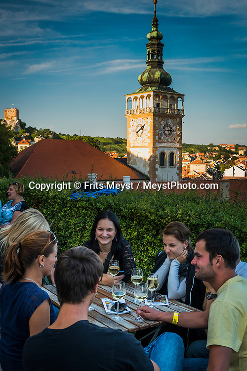 Mikulov, Moravia, Czech Republic, September 2015. Mikulov is arguably the most attractive of the southern Moravian wine towns, surrounded by white, chalky hills and adorned with an amazing hilltop Renaissance chateau, visible for miles around. The South Moravian region of Pálava, which is a part of UNESCO Lower Morava Biosphere Reserve, is undoubtedly one of those places. A beautiful landscape of dazzlingly white rocks, blossoming meadows, lowland forests, romantic ruins of medieval castles, crystal-clear lakes and sun-drenched vineyards. All of this in a region that has one of the warmest climates in the Czech Republic and offers excellent opportunities for hiking, cycling, water sports and dining which you will remember for a long time to come. Southern Moravia is most famous for its wine,  rolling hills and pretty landscapes. Photo by Frits Meyst / MeystPhoto.com
