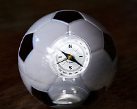 Rio de Janeiro-Brazil19 May 2020, Soccer ball and compass, to show that Brazilian football has to take a turn, after this quarantine, due to the Coronavirus