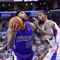 25 October 2013: Sacramento Kings center DeMarcus Cousins (15) drives past Los Angeles Clippers center DeAndre Jordan (6) during the Sacramento Kings 110-100 victory over the Los Angeles Clippers at the Staples Center, Los Angeles, California, USA.