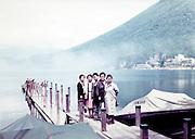 posing on a boatlanding Japan 1980s