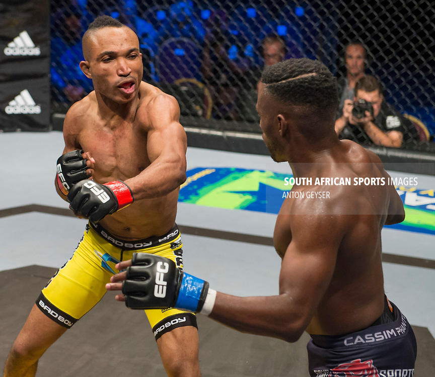 JOHANNESBURG, SOUTH AFRICA - MAY 13: (R-L) TC Khusu and Guy Mongambi in action during EFC 59 Fight Night at Carnival City on May 13, 2017 in Johannesburg, South Africa. (Photo by Anton Geyser/EFC Worldwide/Gallo Images)