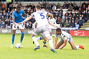 Macclesfield Town forward Arthur Gnahoua prepares to take the shot at goal during the EFL Sky Bet League 2 match between Macclesfield Town and Colchester United at Moss Rose, Macclesfield, United Kingdom on 28 September 2019.