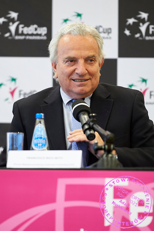 President of the International Tennis Federation Francesco Ricci Bitti from Italy during official draw one day before the Fed Cup / World Group 1st round tennis match between Poland and Russia at Holiday Inn on February 6, 2015 in Cracow, Poland.<br /> <br /> Poland, Cracow, February 6, 2015<br /> <br /> Picture also available in RAW (NEF) or TIFF format on special request.<br /> <br /> For editorial use only. Any commercial or promotional use requires permission.<br /> <br /> Adam Nurkiewicz declares that he has no rights to the image of people at the photographs of his authorship.<br /> <br /> Mandatory credit:<br /> Photo by &copy; Adam Nurkiewicz / Mediasport