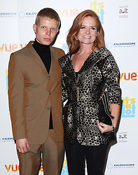 Patsy Palmer and son arriving at the premiere of It's A Lot , in London,Monday, 21st October 2013. Picture by Stephen Lock / i-Images