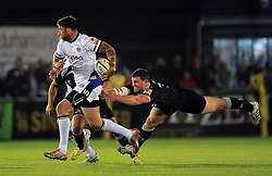 Matt Banahan of Bath Rugby gets past Mark Wilson of Newcastle Falcons - Photo mandatory by-line: Patrick Khachfe/JMP - Mobile: 07966 386802 10/04/2015 - SPORT - RUGBY UNION - Newcastle upon Tyne - Kingston Park - Newcastle Falcons v Bath Rugby - Aviva Premiership