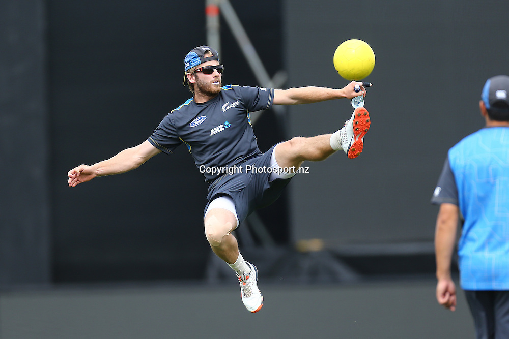 Black Caps player Kane Williamson plays a game of Football  during training before tomorrow's ANZ International 3rd ODI Series match Black Caps v Sri Lanka. Saxton Oval, Nelson, New Zealand. Wednesday 30 December 2015. Copyright Photo: Evan Barnes / www.photosport.nz