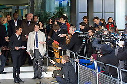 © Licensed to London News Pictures. 29/11/2012. London, UK. Kate McCann (left, turquoise scarf), the mother of Madeleine McCann, and Brian Dowler (third left, purple tie), the father of Millie Dowler, are seen outside the Queen Elizabeth Conference Centre in London today (29/11/12) with other members of the 'Hacked Off' campaign group after hearing the results of Lord Leveson's inquiry into the British media. Photo credit: Matt Cetti-Roberts/LNP