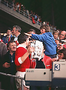 The Cork captain Martin O'Doherty patted on the head by a young supporter after receiving the Liam MacCarthy Cup after the All Ireland Senior Hurling Final, Cork v Wexford in Croke Park on the 4th September 1977. Cork 1-17 Wexford 3-8.