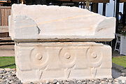 Sarcophagus adorned with rosettes found at Caesarea, on the Mediterranea sea, Israel