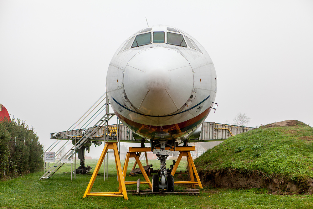 "The front part of a Topulev 154-M which was a gouvernment special airplane at the ""Air Park"" museum of technology which is a private collection gathered by the Tarantík family and located close to Pilsen. Karel Tarantík and his son Miloš established the Air Park museum in 1993 and since then, they have enhanced. The wide range and high quality of exhibits make Air Park one of the most popular technology museums in the Czech Republic."