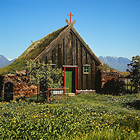 Víðimýri, torfkirkju, Seyluhreppur, Skagafjörður.Vidimyri thurf church in Skagafjordur