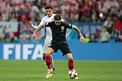 July 11, 2018 - Moscow, U.S. - MOSCOW, RUSSIA - JULY 11: Midfielder Dele Alli of England National team and Defender Sime Vrsaljko of Croatia National team during the semifinal match between Croatia and England at the FIFA World Cup on July 11, 2018 at the Luzhniki Stadium  in Moscow, Russia. (Photo by Anatoliy Medved/Icon Sportswire) (Credit Image: © Anatoliy Medved/Icon SMI via ZUMA Press)