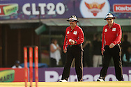 The umpires take to the field during the Qualifier 1 match of the Karbonn Smart Champions League T20 (CLT20) between Otago Volts and the Faisalabad Wolves held held at the Punjab Cricket Association Stadium, Mohali on the 17th September 2013<br /> <br /> Photo by Ron Gaunt/CLT20/SPORTZPICS<br /> <br /> <br /> Use of this image is subject to the terms and conditions as outlined by the CLT20. These terms can be found by following this link:<br /> <br /> http://sportzpics.photoshelter.com/image/I0000NmDchxxGVv4<br /> <br /> ENTER YOUR EMAIL ADDRESS TO DOWNLOAD