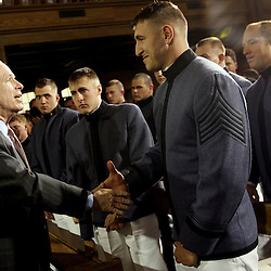 Kyle Green | The Roanoke Times<br /> April 11 2007 Sen. John McCain shakes the hand of VMI Regimental Commander, 1st Captain, Sal Sferrazza, after a major policy speech concerning the Iraq war at Virginia Military Institute in Lexington, Virginia.