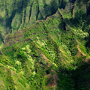 This photo was taken on the western side of the island of Kauai. This is a ridge along the Napali coast photographed from the air.