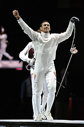 01.08.2012, ExCeL Exhibition Centre, London, GBR, Olympia 2012, Fechten, im Bild LIMARDO GASCON Ruben (VEN) Gold medal EPEE // during fencing, at the 2012 Summer Olympics at ExCeL Exhibition Centre, London, United Kingdom on 2012/08/01. EXPA Pictures © 2012, PhotoCredit: EXPA/ Insidefoto/ Giovanni Minozzi ATTENTION - for AUT, SLO, CRO, SRB, SUI and SWE only *****