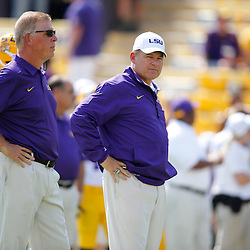 Oct 12, 2013; Baton Rouge, LA, USA; LSU Tigers head coach Les Miles prior to a game against the Florida Gators at Tiger Stadium. Mandatory Credit: Derick E. Hingle-USA TODAY Sports