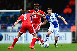Ollie Clarke of Bristol Rovers is closed down by Gboly Ariyibi of Milton Keynes Dons - Mandatory by-line: Dougie Allward/JMP - 28/10/2017 - FOOTBALL - Memorial Stadium - Bristol, England - Bristol Rovers v Milton Keynes Dons - Sky Bet League One