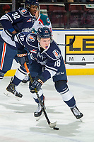 KELOWNA, BC - FEBRUARY 02: Connor Zary #18 of the Kamloops Blazers skates with the puck against the Kelowna Rockets  at Prospera Place on February 2, 2019 in Kelowna, Canada. (Photo by Marissa Baecker/Getty Images)