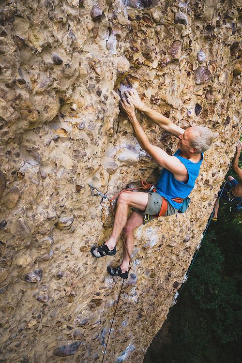 Paul Shilton climbs Welcome Back Cobble, 5.12 d, Maple Canyon, Utah.