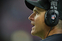 20 January 2013: Head coach Jim Harbaugh of the San Francisco 49ers coaches against the Atlanta Falcons during the second half of the 49ers 28-24 victory over the Falcons in the NFC Championship Game at the Georgia Dome in Atlanta, GA.