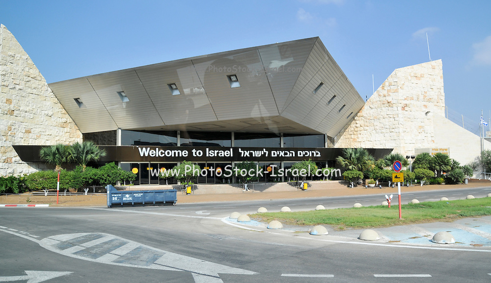Israel, Ben-Gurion international Airport Welcome to Israel sign above the arrival hall