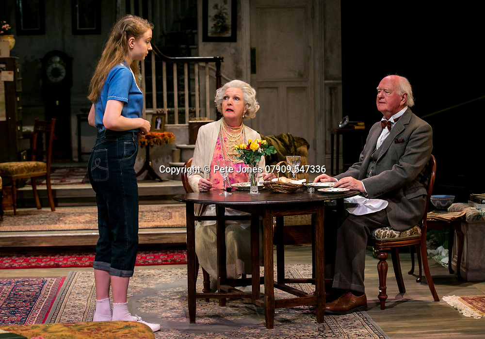 The Chalk Garden by Enid Bagnold;<br /> Directed by Alan Strachan;<br /> Penelope Keith (as Mrs St Maugham);<br /> Emma Curtis (as Laurel);<br /> Oliver Ford Davies (as The Judge);<br /> Chichester Festival Theatre; Chichester;<br /> 30 May 2018.<br /> © Pete Jones<br /> pete@pjproductions.co.uk