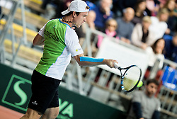 Grega Zemlja of Slovenia during Day 3 of the tennis matches between Slovenia and Monaco of 2017 Davis Cup Europe/Africa Zone Group II, on February 5, 2017 in Tennis Arena Tabor, Maribor Slovenia. Photo by Vid Ponikvar / Sportida
