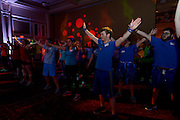 Andrew MCCollough dances along with his blue teammates during the 2015 bobcat dance a thon. Photo by Olivia Wallace