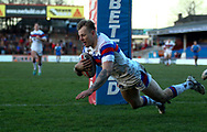 Tom Johnstone of Wakefield Trinity scores his 2nd try of the game on his return from Injury against Halifax RLFC during the Pre-season Friendly match at Belle Vue, Wakefield<br /> Picture by Stephen Gaunt/Focus Images Ltd +447904 833202<br /> 07/01/2018