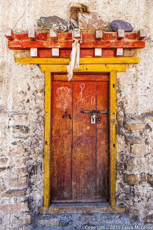 Traditional Tibetan Doorway, Spiti Valley, India