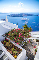 A view of a cruise ship in the caldera from Imerovigli, Santorini, Greece