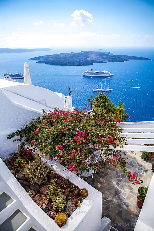 A view of a cruise ship in the caldera from Imerovigli, Santorini, Greece
