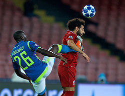 NAPLES, ITALY - Wednesday, October 3, 2018: Liverpool's Mohamed Salah (R) and Napoli's Kalidou Koulibaly during the UEFA Champions League Group C match between S.S.C. Napoli and Liverpool FC at Stadio San Paolo. (Pic by David Rawcliffe/Propaganda)