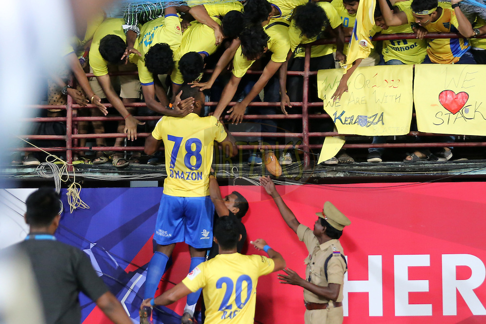 Duckens Nazon of Kerala Blasters FC celebrates the goal during match 48 of the Indian Super League (ISL) season 3 between Kerala Blasters FC and FC Pune City held at the Jawaharlal Nehru Stadium in Kochi, India on the 25th November 2016.<br /> <br /> Photo by Faheem Hussain / ISL / SPORTZPICS