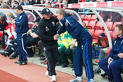 STOKE, ENGLAND - Saturday, May 1, 2010: Everton's manager David Moyes and Stoke City's manager Tony Pulis during the Premiership match at Britannia Stadium. (Photo by David Rawcliffe/Propaganda)