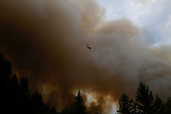 September 12, 2015 - Lake County, California, Cal Fire Spotter aircraft orbiting around Hoberg's Resort area, as the Valley Fire continues spreading into the Boggs Mountain State Forest. (Kim Ringeisen / Polaris)