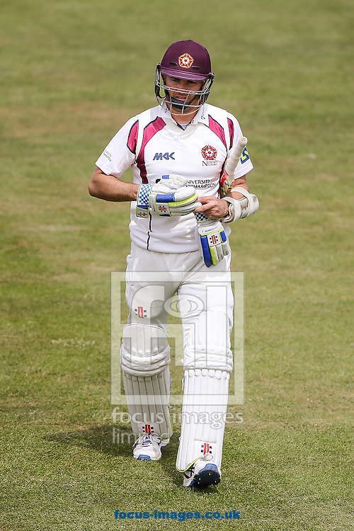Stephen Peters of Northamptonshire departs after scoring 44 runs during the LV County Championship Div Two match at the County Ground, Northampton<br /> Picture by Andy Kearns/Focus Images Ltd 0781 864 4264<br /> 08/06/2015