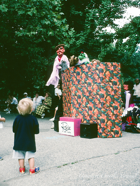 Rodz, a Puppet Company, giving a performance in Central Park, New York City, 1991.