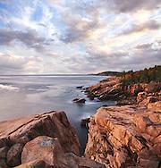 Early Morning Light Warms The Rugged Acadia Seacoast, Acadia National Park, Maine, USA