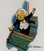 David Lloyd George, Ist Earl Lloyd-George of Dwyfor (1863-1945), Welsh Liberal statesman born in Manchester, Lancashire. British Prime Minister 1916-1922.  Lloyd-George addressing the House of Commons from the back benches.  From a series of cards on 'Notable MPs' (London, 1929).