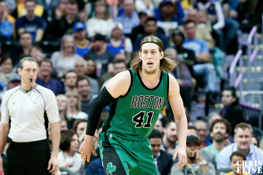 10 March 2017: Boston Celtics center Kelly Olynyk (41) is seen on defense during the Denver Nuggets 119-99 victory over the Boston Celtics, at the Pepsi Center, Denver, Colorado, USA.