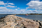 Breakwater Point jetty, Sakonnet Harbor, Little Compton, Rhode Island, USA.