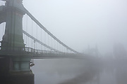 London News Pictures. LONDON. UK. 20/11/2011. Fog at Hammersmith Bridge in West London, today, 20th November 2011. Much of the South East of the country is shrouded in fog. Photo credit Stephen Simpson/LNP